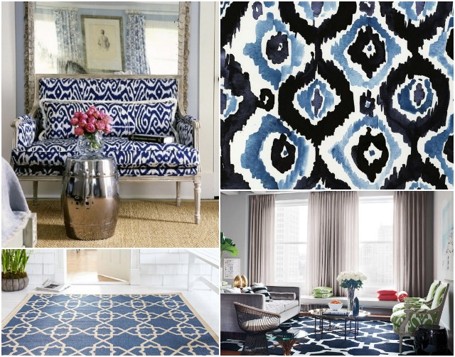 blue patterned rug inspiration