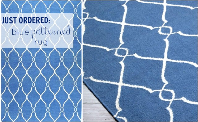 blue patterned rug