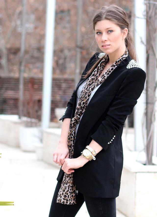 studded blazer & leopard scarf