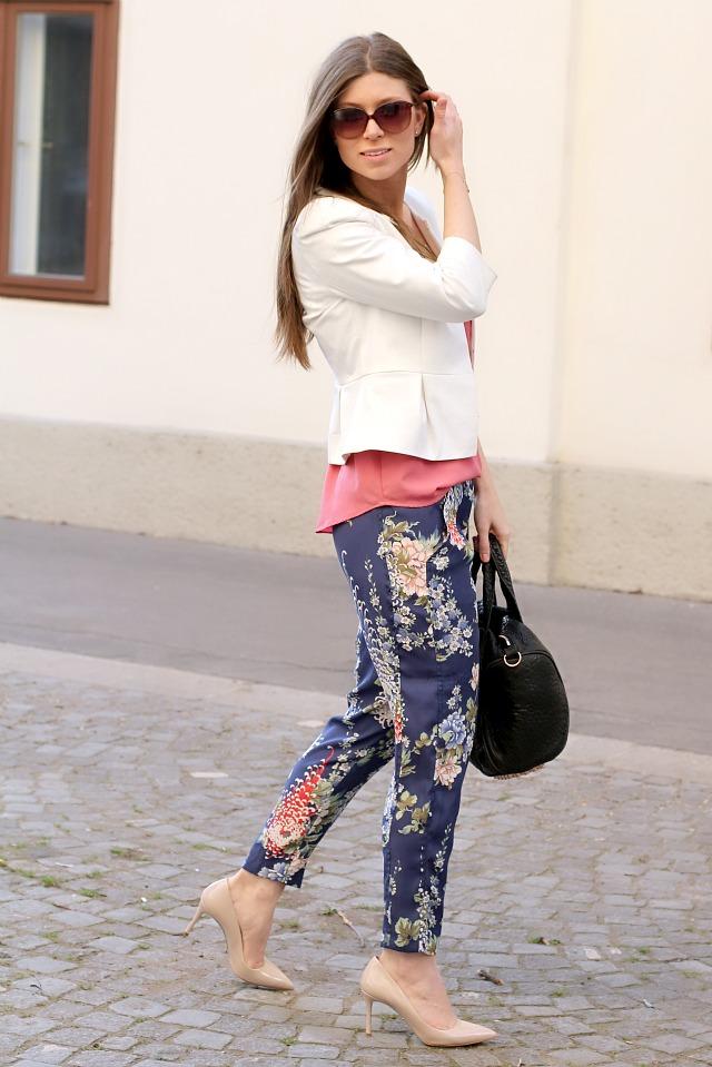 flower pants, white peplum blazer & miu miu glitter heels