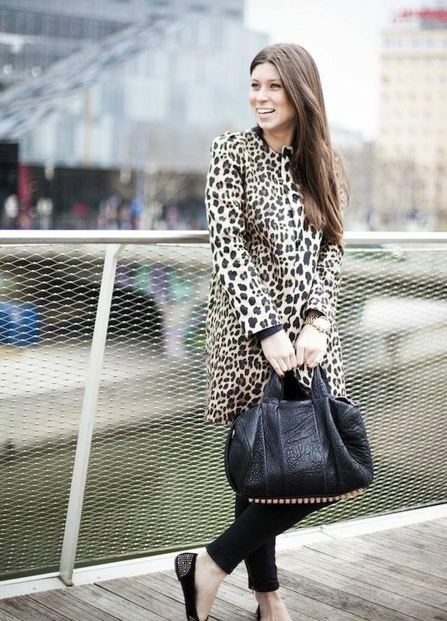 Zara leopard coat + Alexander Wang rocco bag with rosegold hardwar 04
