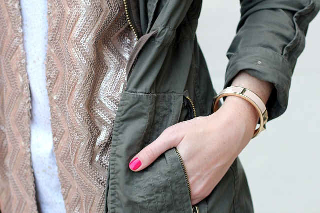 details: sequin kimono, asos parka, hallhuber bracelet