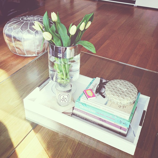 white tray in faux croco - on our coffee table