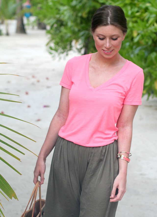 neon shirt + olive maxi skirt outfit