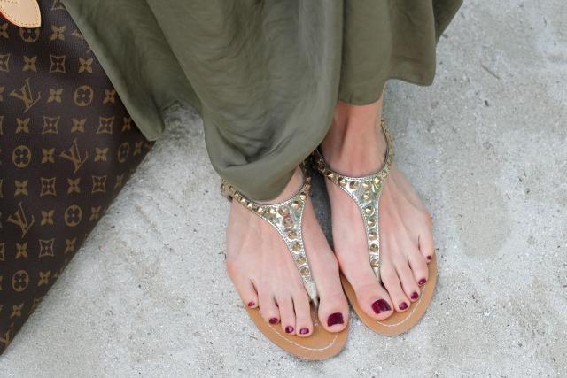 golden studded sandals by Hallhuber