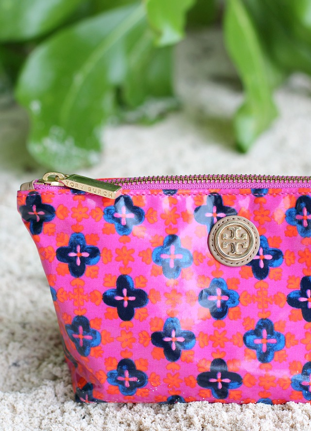 summertime beauty favorites tory burch make-up bag