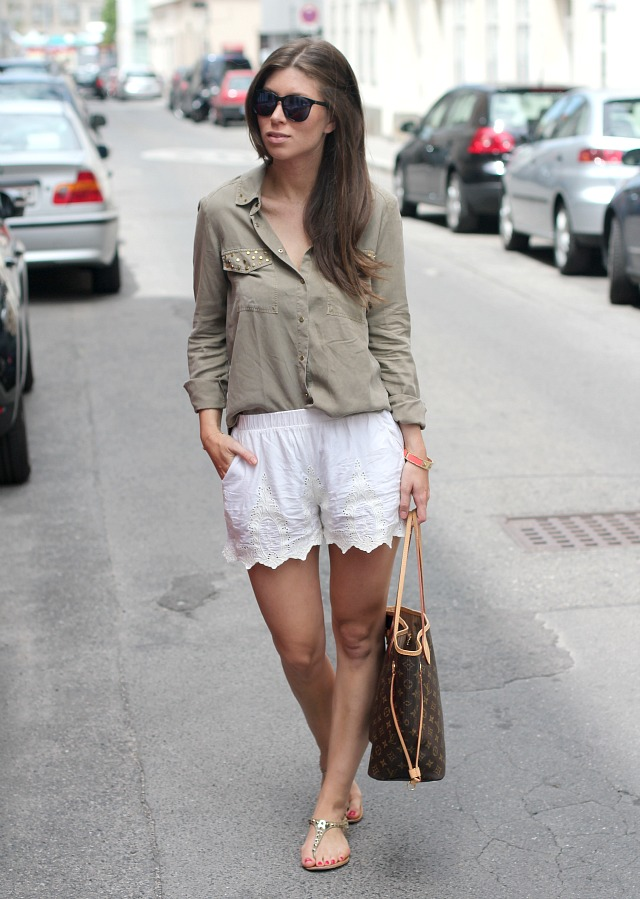 ZARA lace shorts + Louis Vuitton neverfull