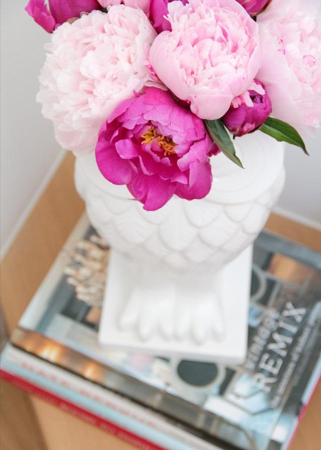 owl vase & pink peonies