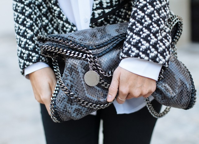OUTFIT: black & white // Equipment silk blouse, ZARA jeans & loafers, Stella McCartney falabella bag, BA&SH jacket