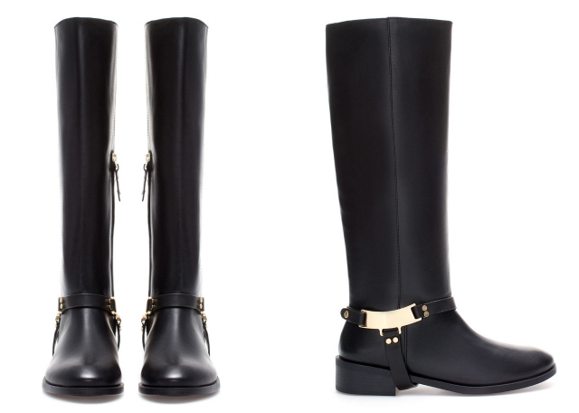 black leather riding boots with gold hardware by ZARA