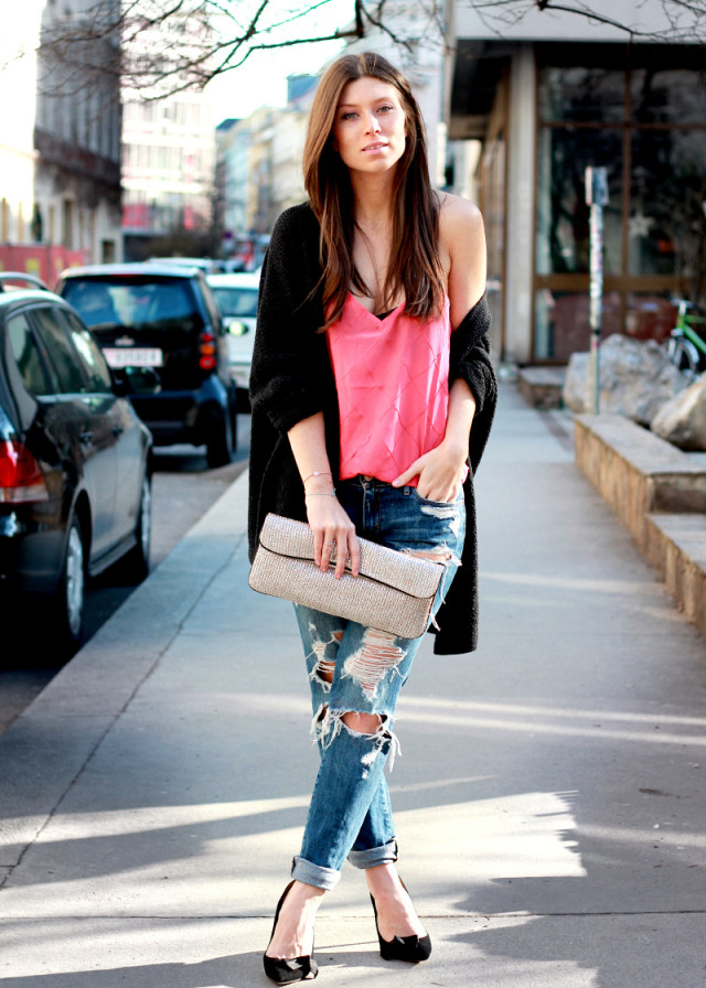 outfit: isabel marant poppy heels, vintage boyfriend jeans, french connection clutch & GIRISSIMA top