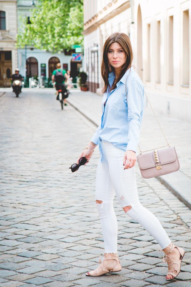 OUTFIT: iris & ink pin-stripe shirt   Bikinis & Passports