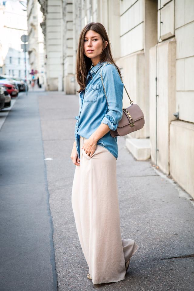 OUTFIT: palazzo pants & denim shirt   Bikinis & Passports