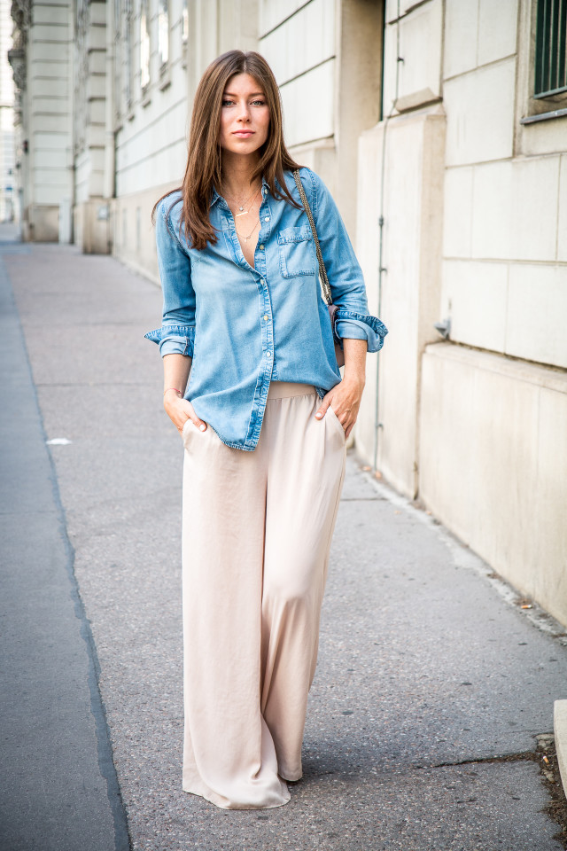 OUTFIT: palazzo pants & denim shirt | Bikinis & Passports