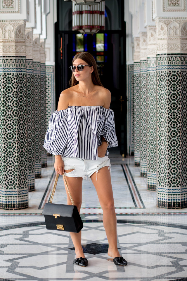OUTFIT: chicwish stripe off-shoulder top | Bikinis & Passports