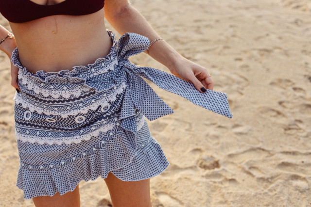 Dodo Bar Or Abigail skirt with ruffles, blue & white - Bikinis & Passports