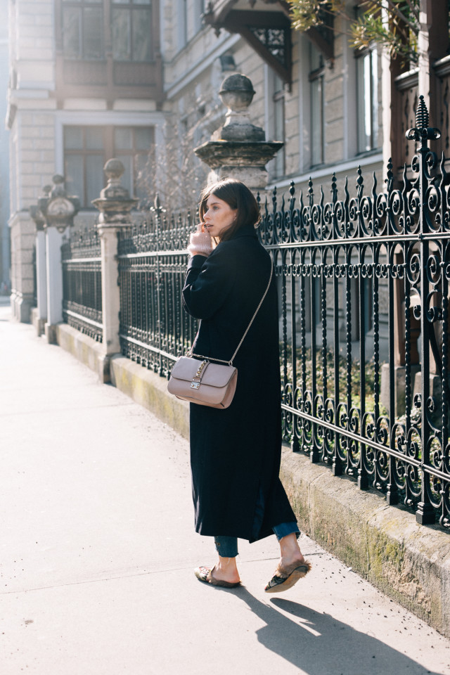 OUTFIT: long coat + Gucci princetown floral brocade slippers | Bikinis & Passports