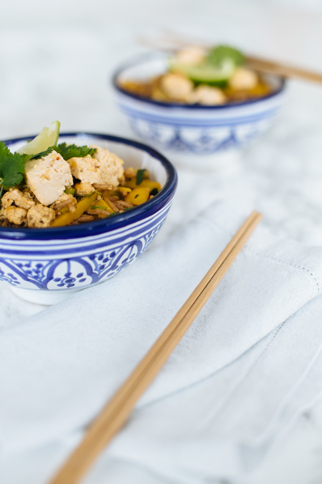 Asian Noodles with Tofu Recipe | Bikinis & Passports