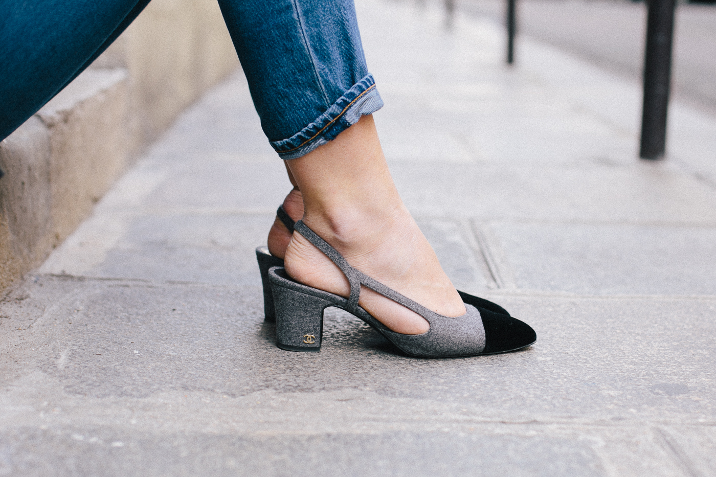 OUTFIT: Chanel slingback heels, gray and black velvet | Bikinis & Passports