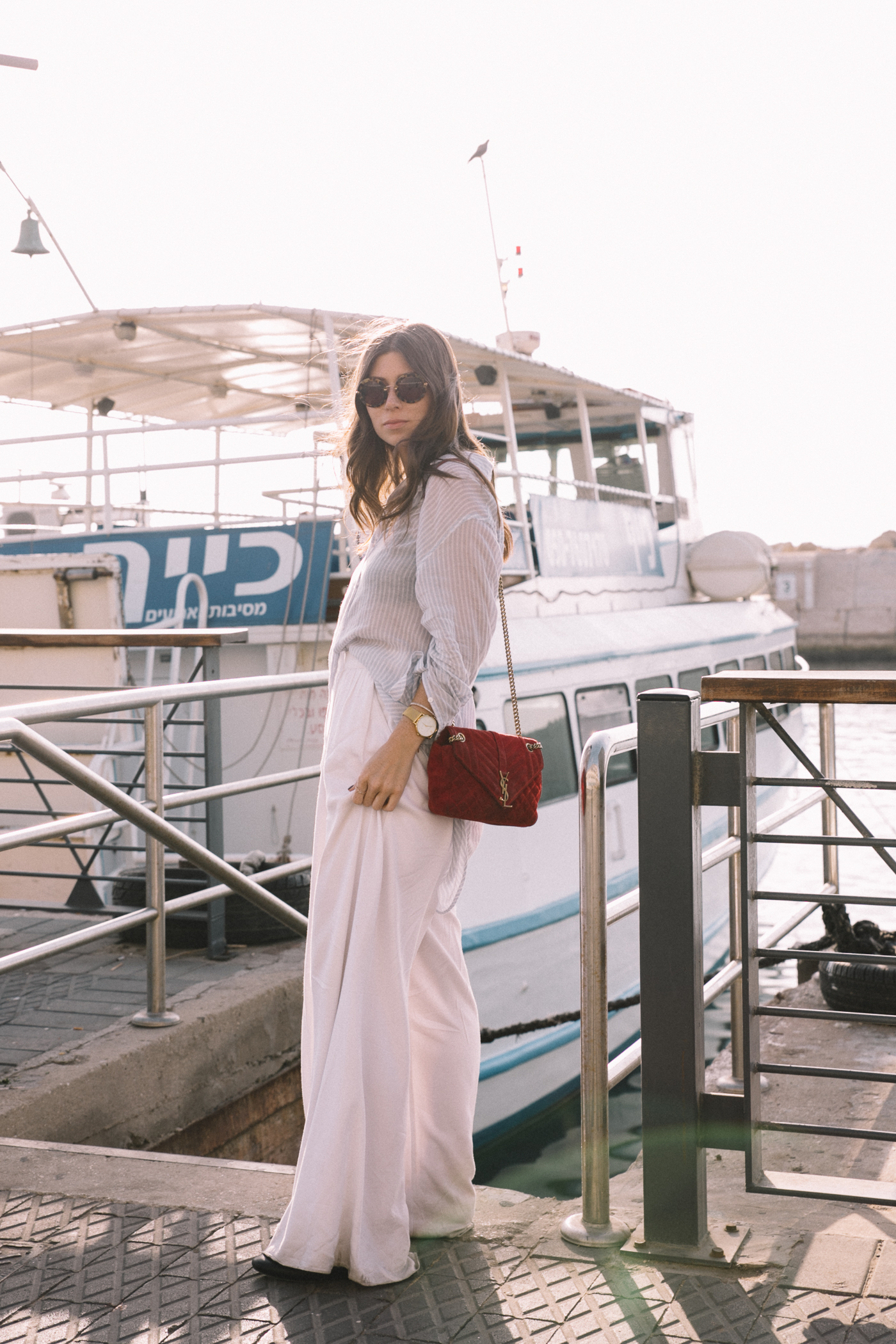 Nautical Style: White Palazzo Pants + Striped Blouse | Bikinis & Passports