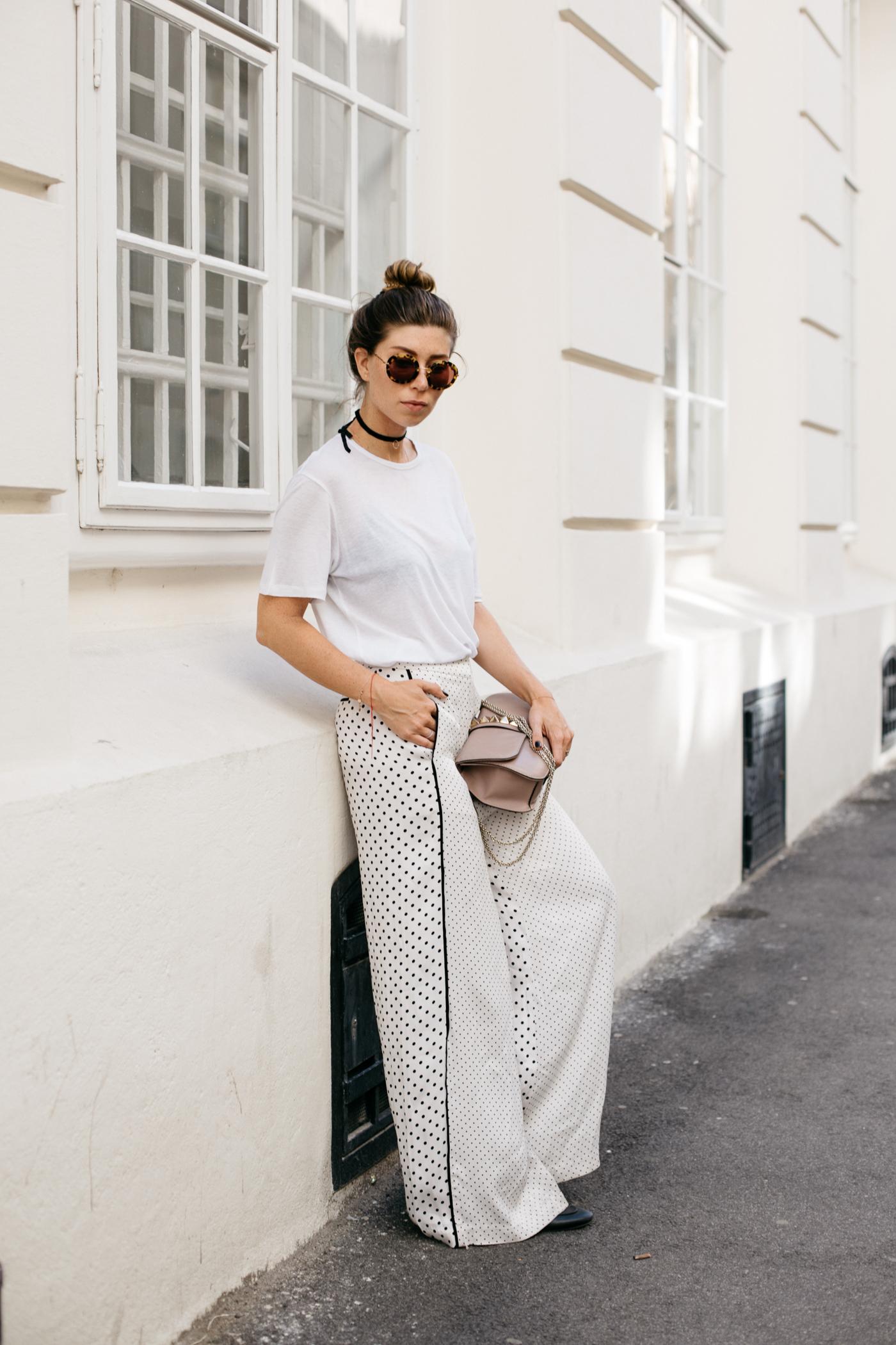 OUTFIT: Zimmermann Polka Dot Satin Wide-Leg Pants | Bikinis & Passports