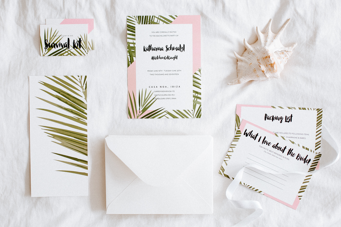 DIY Bachelorette Invites - Tropical Theme for Ibiza | Bikinis & Passports