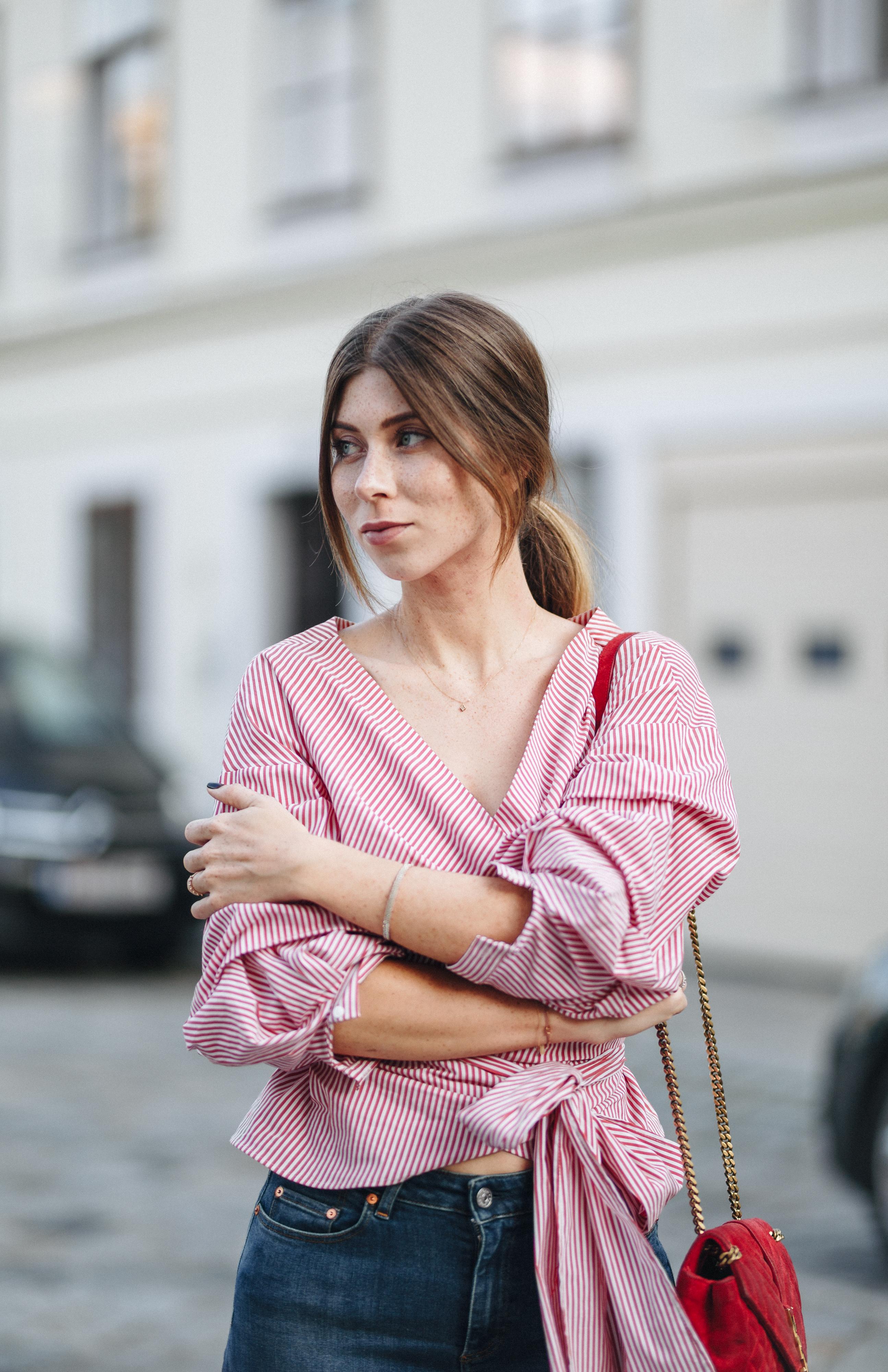 ZARA wrap blouse red, white stripes | Bikinis & Passports
